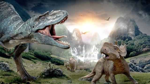 Meteorito cayendo sobre dinosaurios